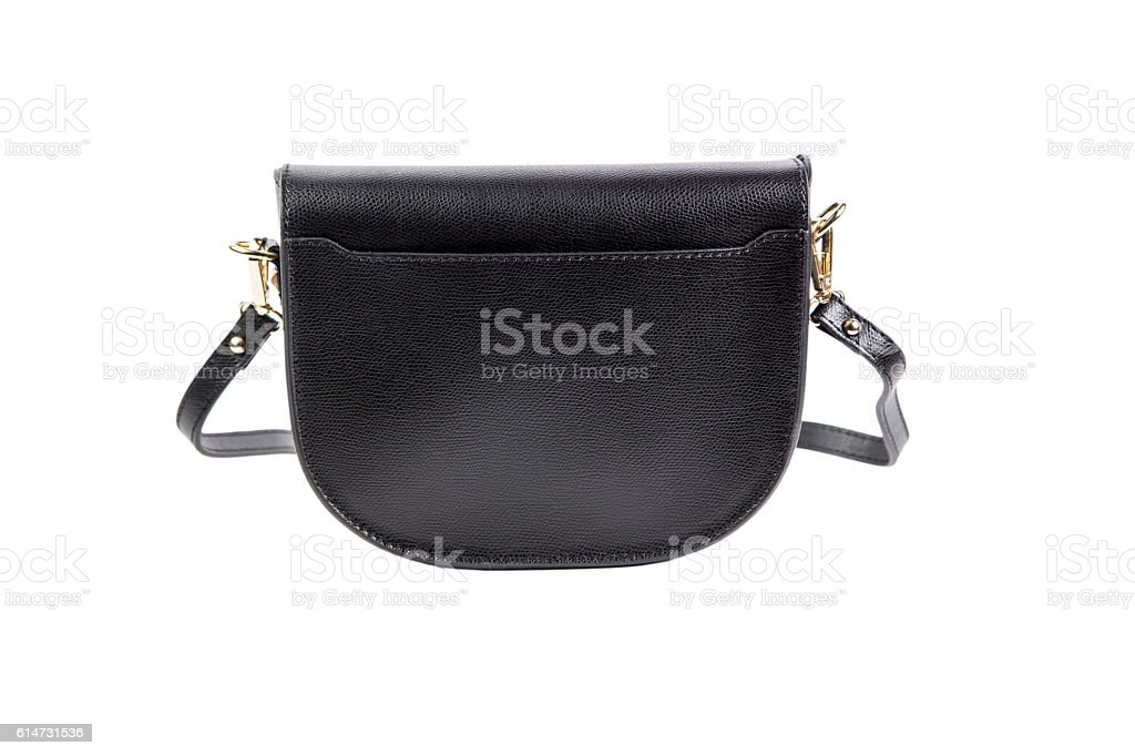stylish women's black bag on a white background stock photo