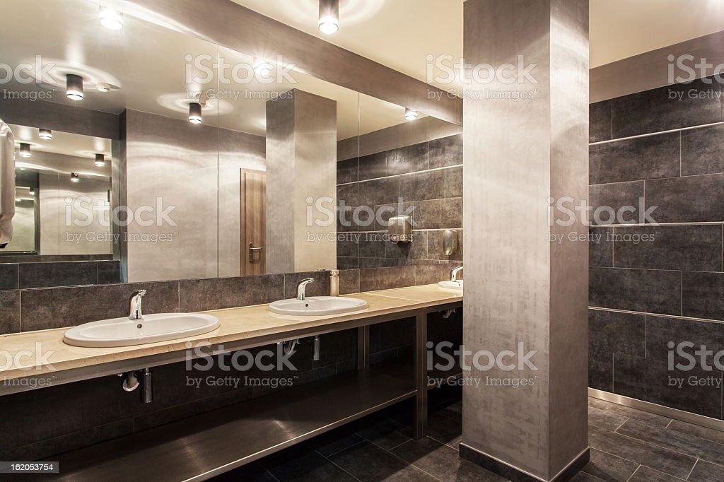 A stylish woodland hotel public bathroom royalty-free stock photo