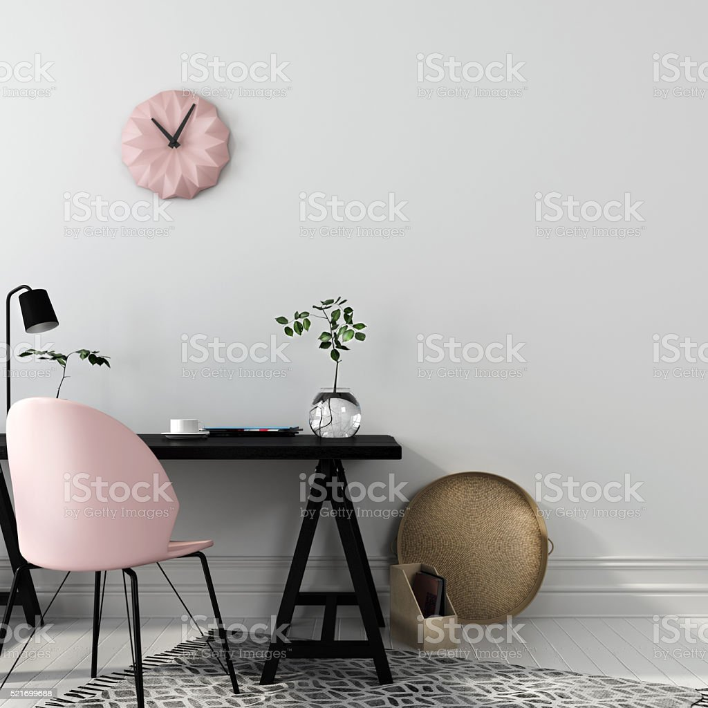 Stylish workplace with a pink chair stock photo
