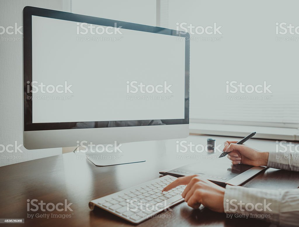 Stylish workspace with computer  on home or studio stock photo