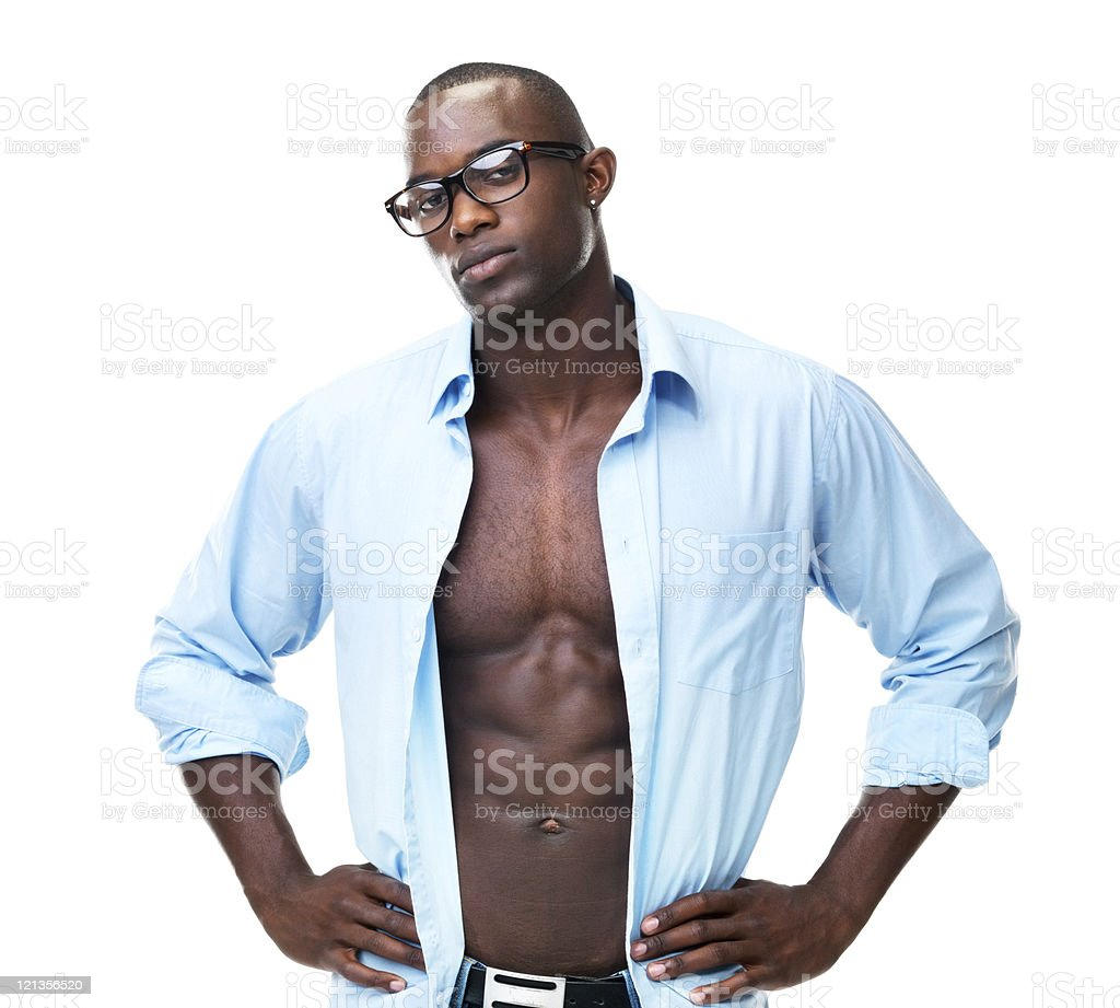 Stylish, young Afro American guy posing on white background stock photo
