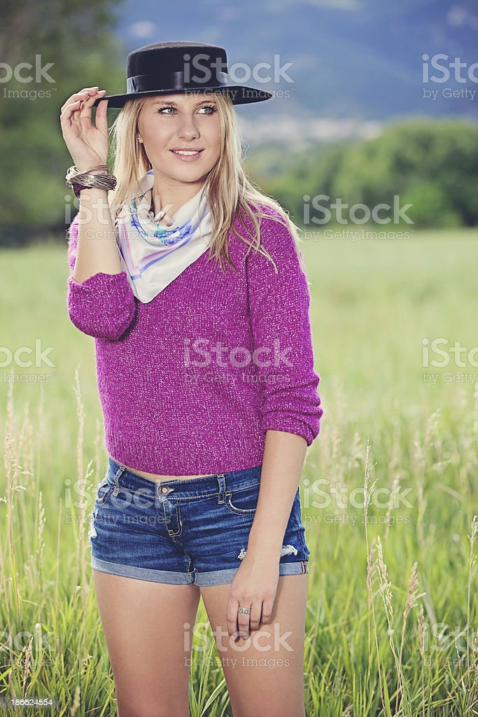 Stylish Young Caucasian Woman in Nature royalty-free stock photo