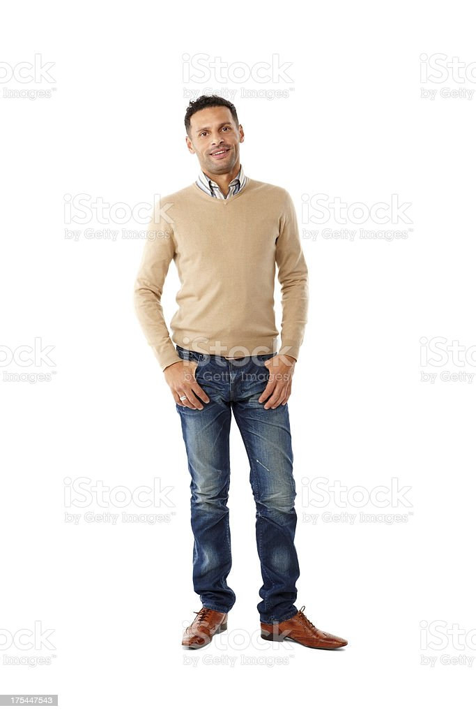 Stylish young guy standing on white background stock photo