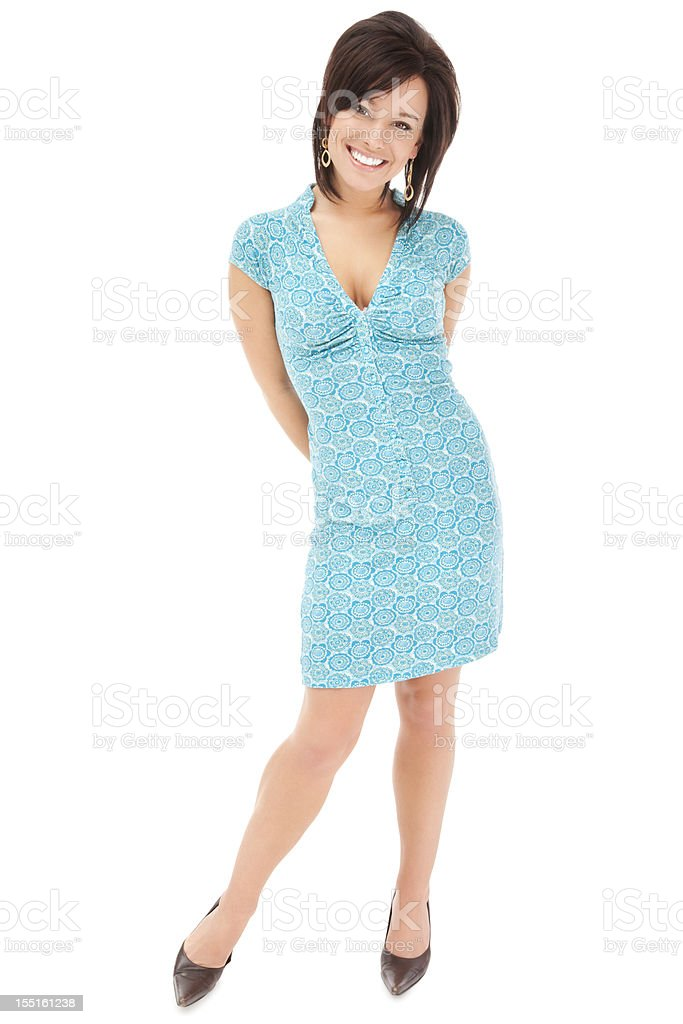Stylish Young Woman in Blue Floral Pattern Dress royalty-free stock photo