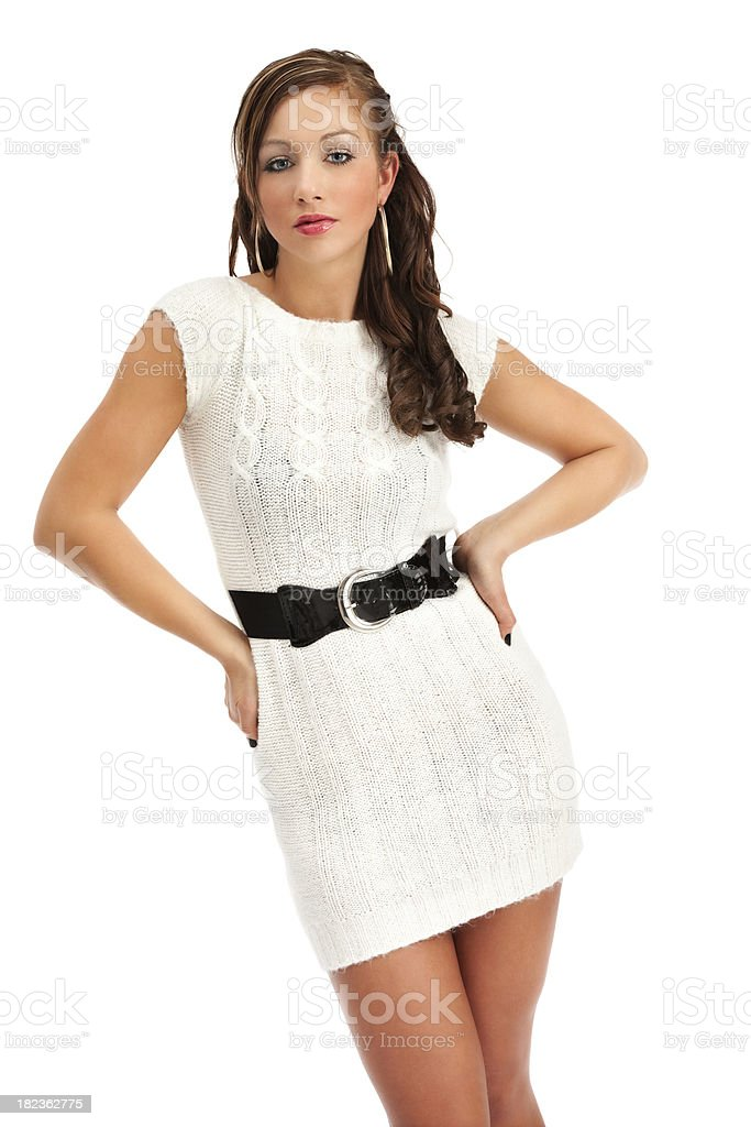 Stylish Young Woman in White Sweater Dress stock photo