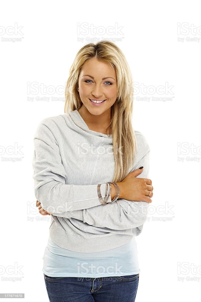 Stylish young woman posing on white royalty-free stock photo