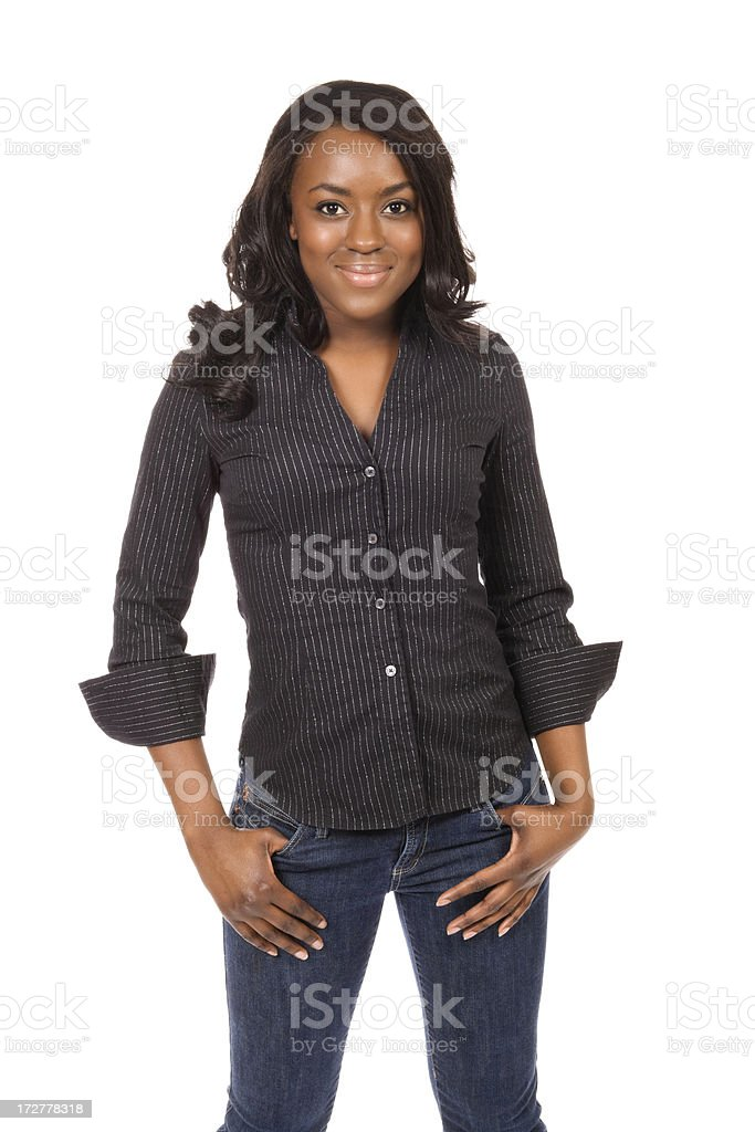 Stylishly Casual Young Woman stock photo