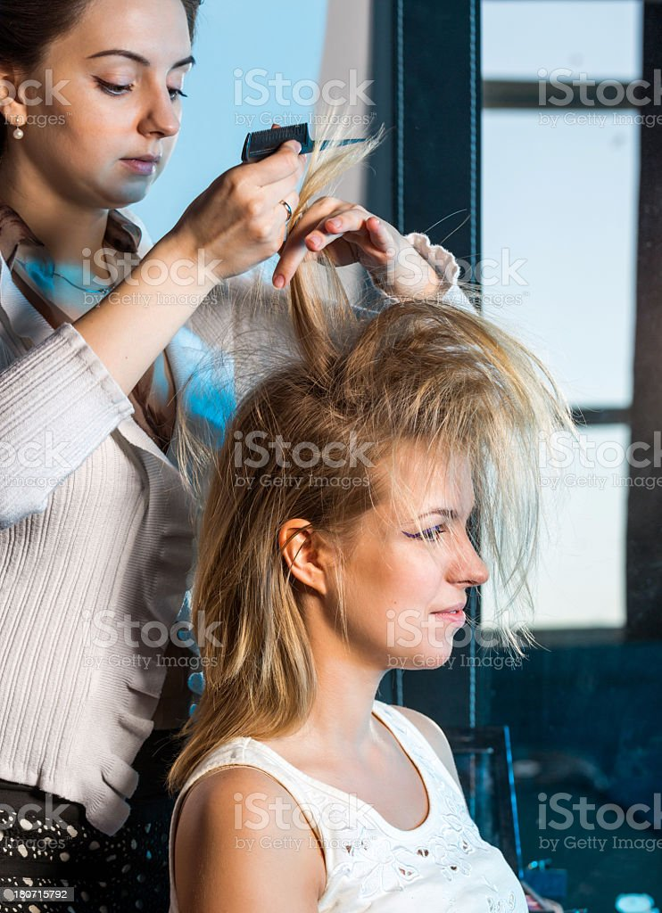 Stylist updo young woman stock photo