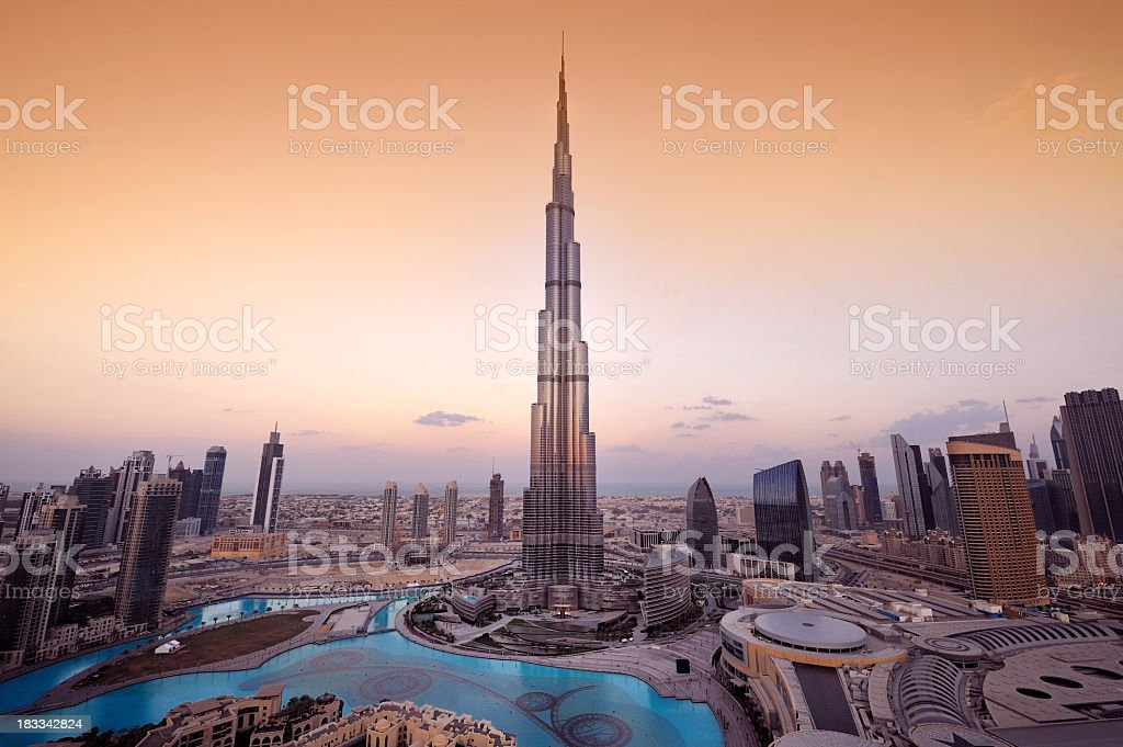 Stylized aerial view of Dubai City stock photo
