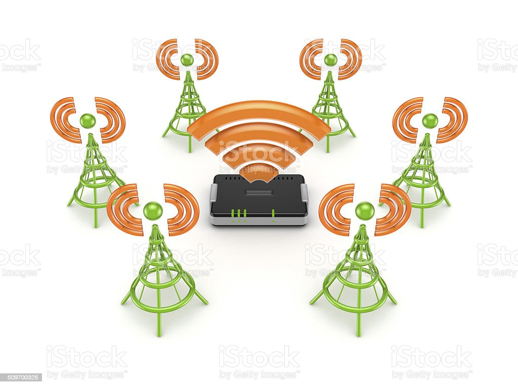 Stylized antennas around router. stock photo