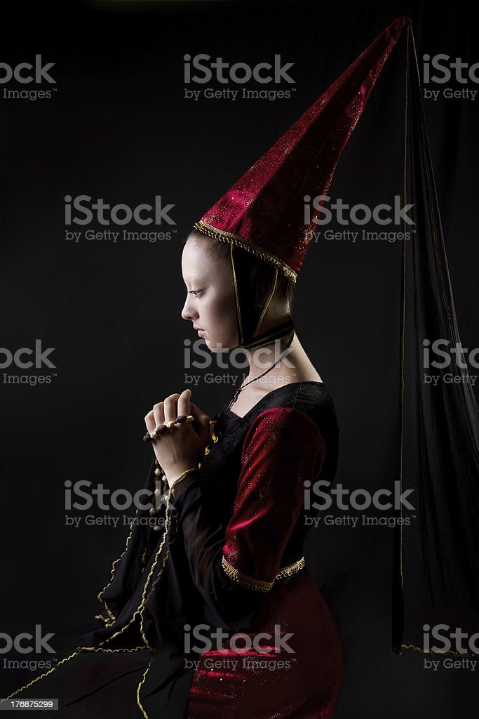 Stylized medieval portrait of woman stock photo