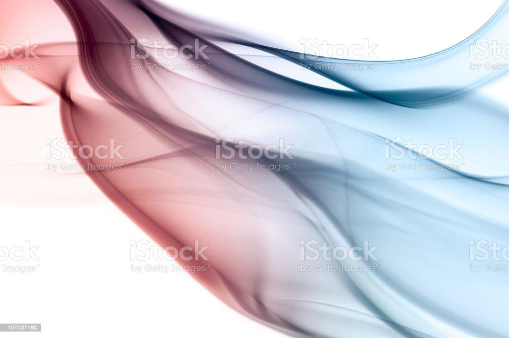 Stylized multicolored smoke against a white background stock photo