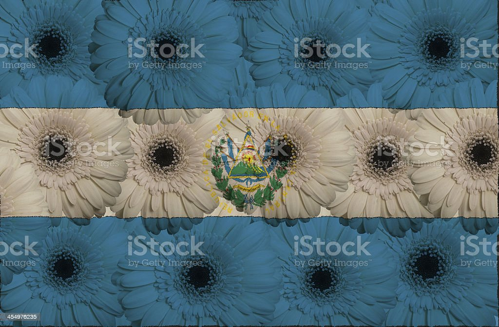 stylized  national flag of el salvador with gerbera flowers stock photo