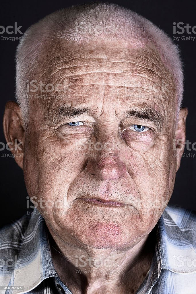 Stylized portrait of an old man stock photo