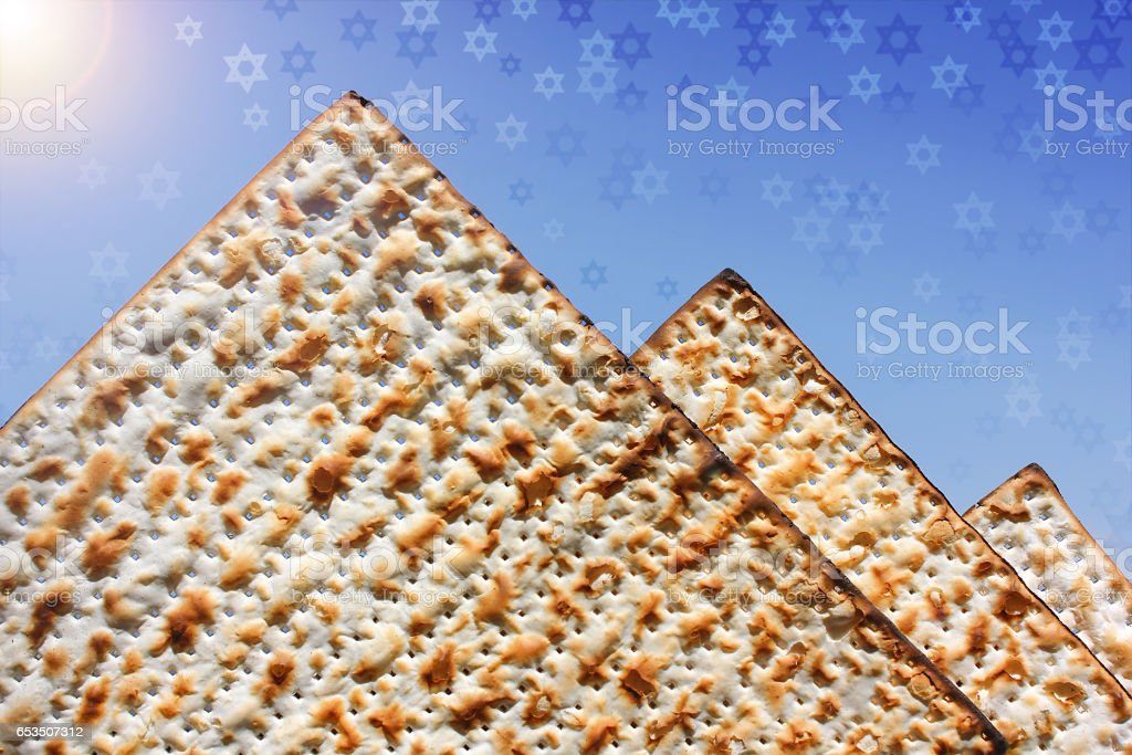 stylized pyramid of matzo stock photo