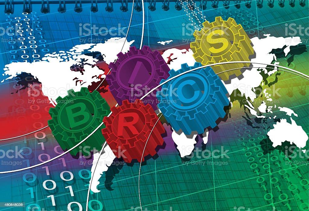 BRICS stylized symbol of gears. world economy stock photo