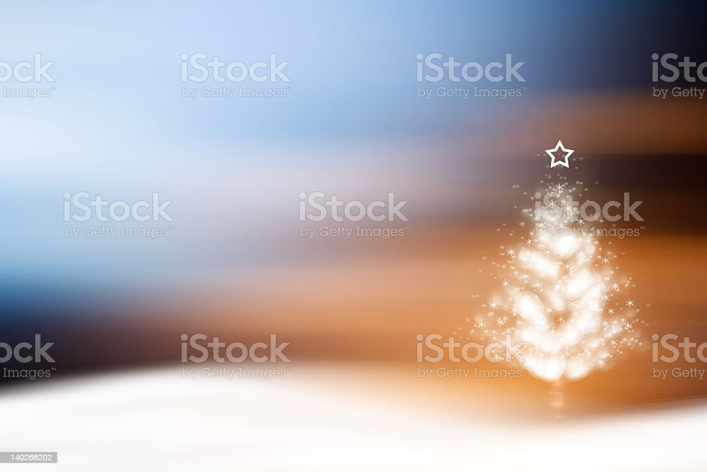 Stylized white Christmas tree on abstract color background royalty-free stock photo