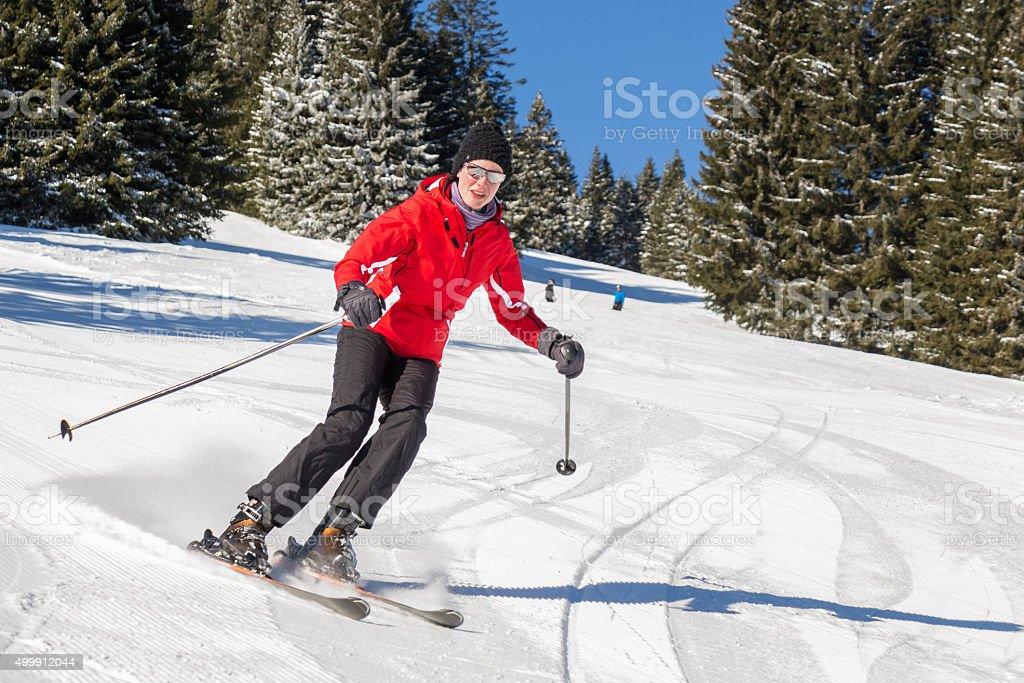 Styrian Mountains Skiing, Austria stock photo