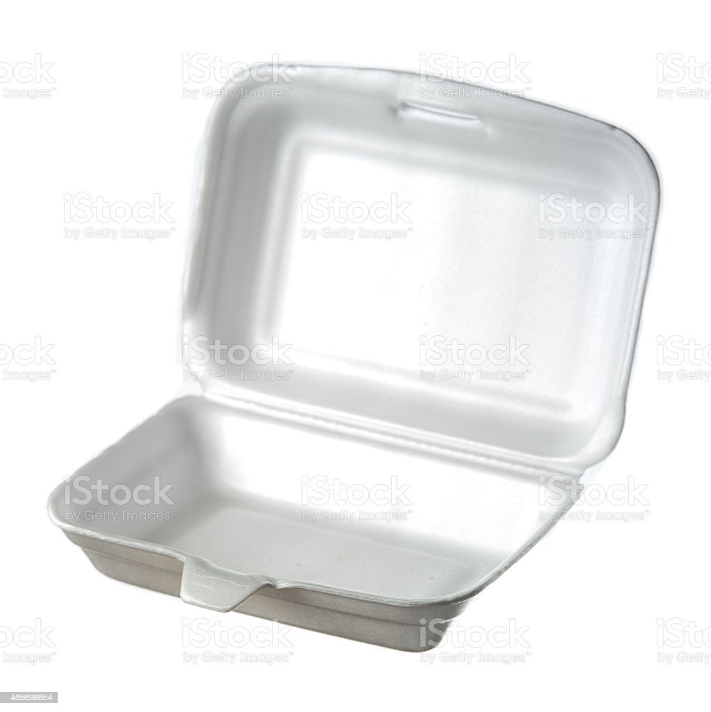 styrofoam box isolated on white stock photo