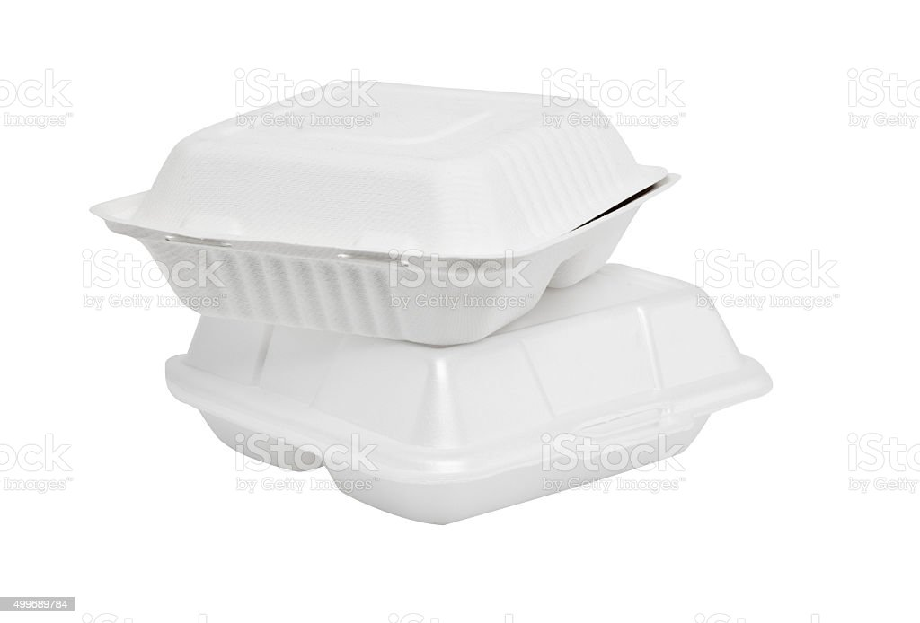 Styrofoam box on white background stock photo