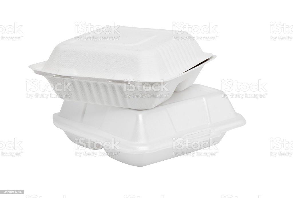 Styrofoam box on white background stock photo
