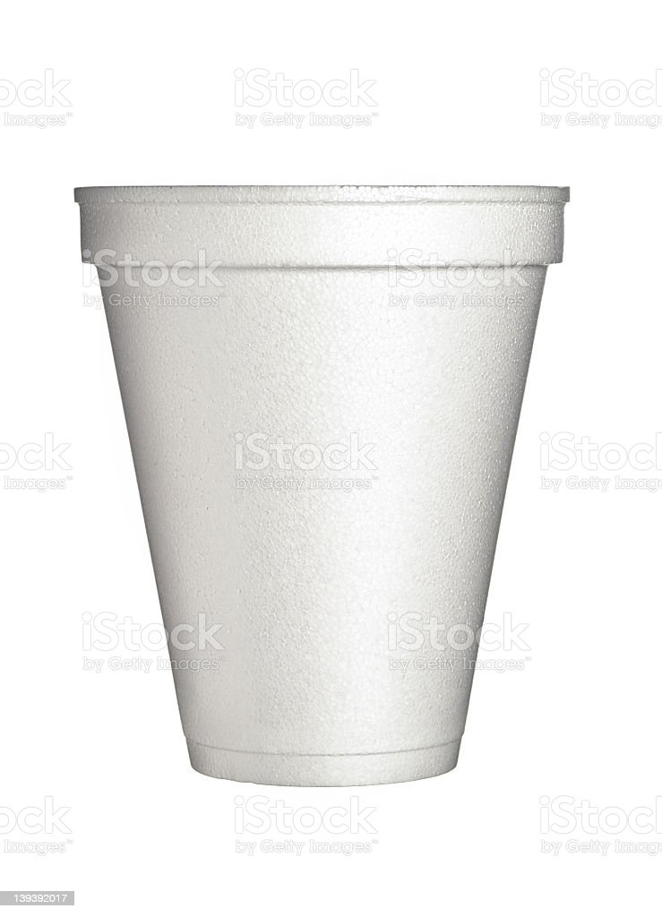 A styrofoam cup on a white background stock photo