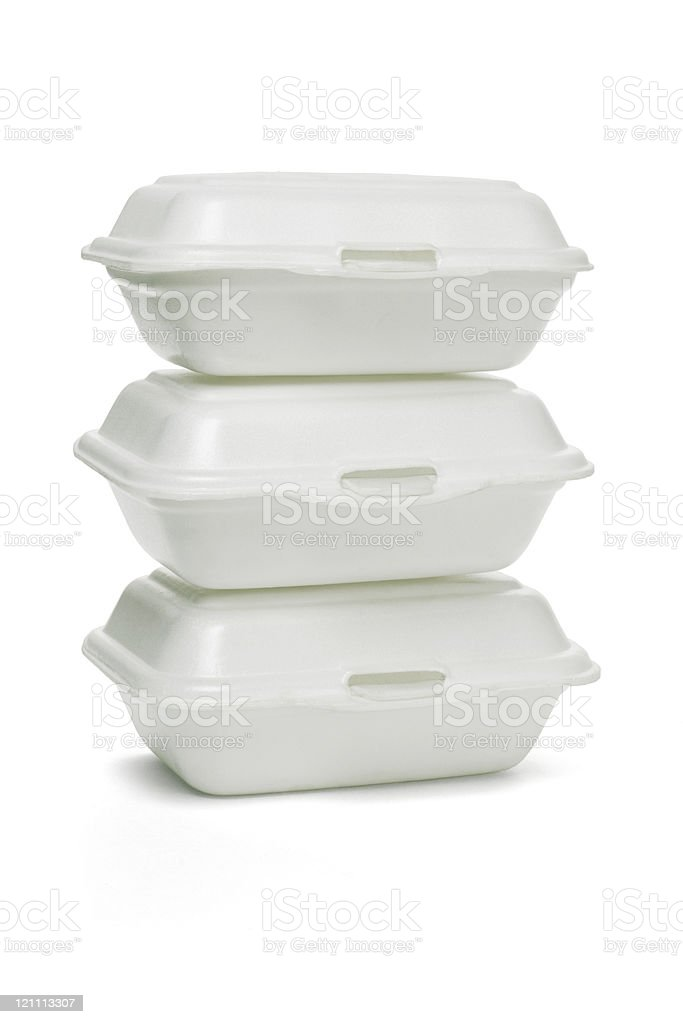 Styrofoam takeaway boxes stock photo
