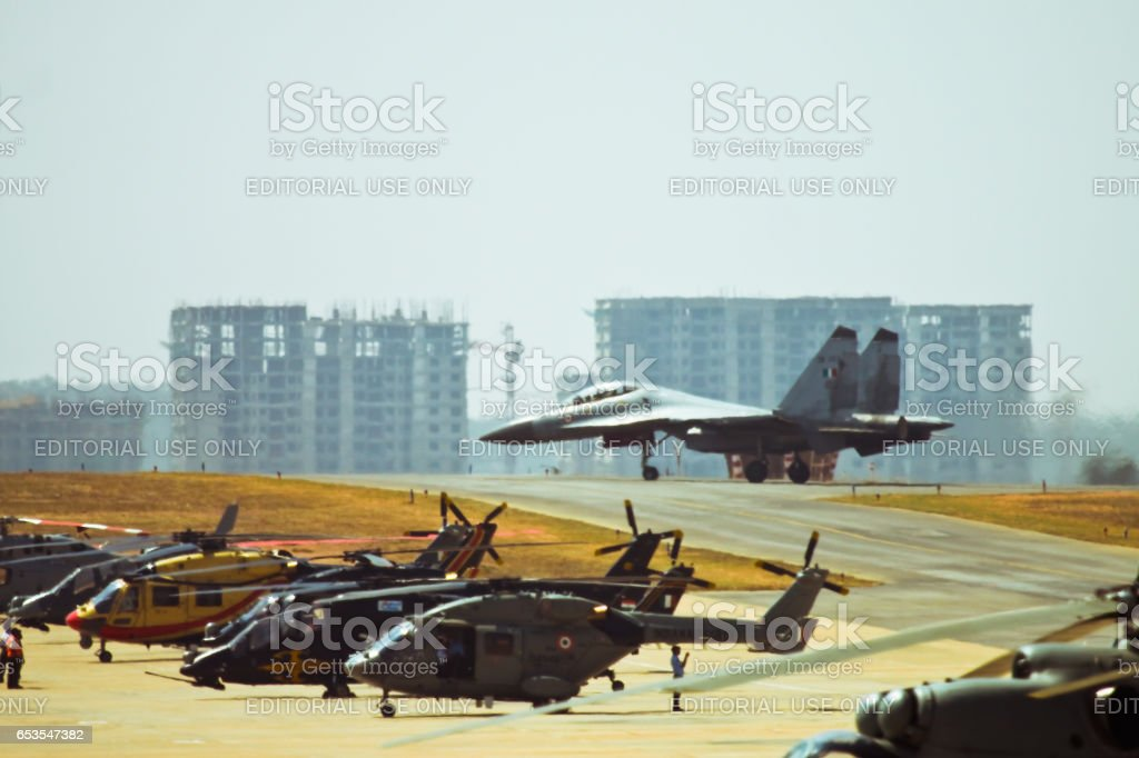 Su-30MKI taxing for the take off stock photo