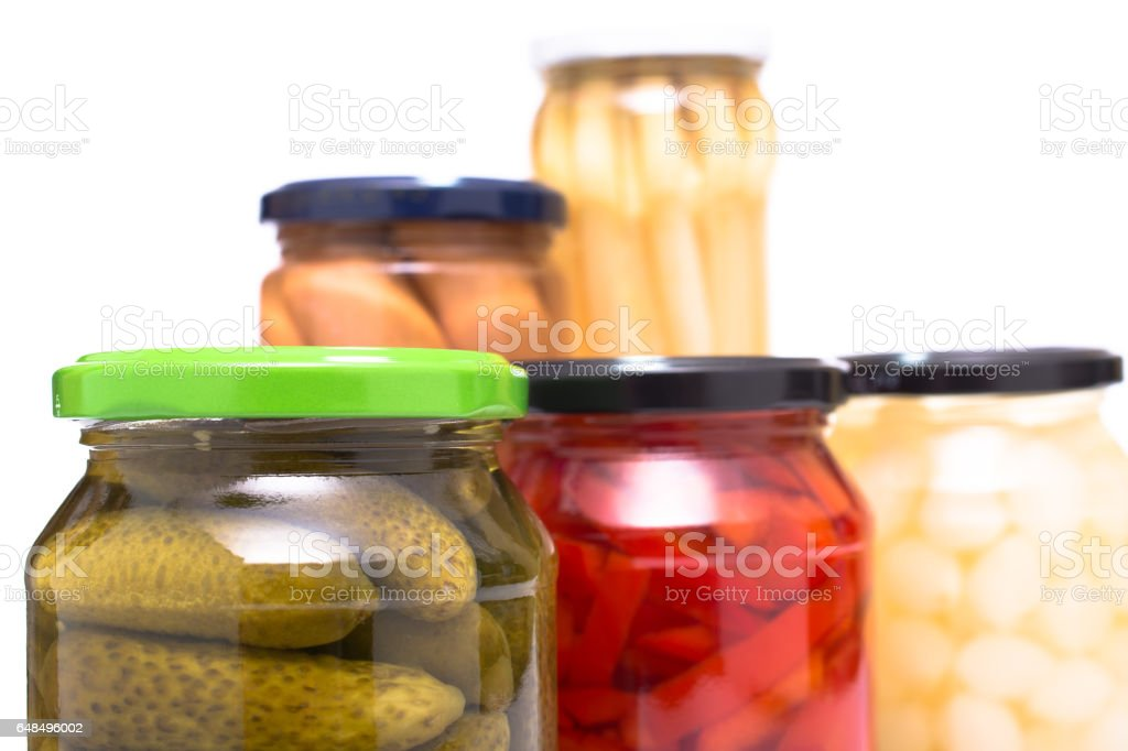 Suasagen and pickled vegetables in glasses stock photo