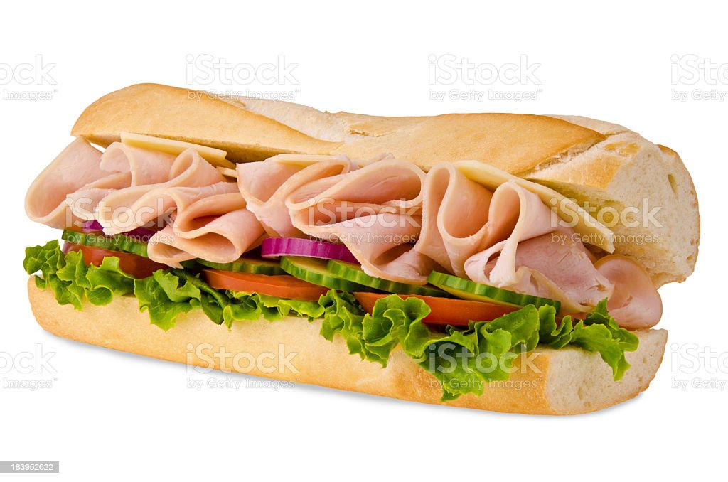 A sub sandwich overflowing with ham stock photo