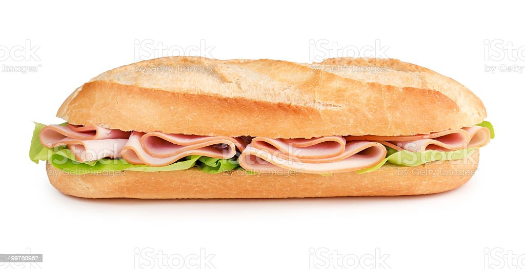 sub with ham and lettuce stock photo