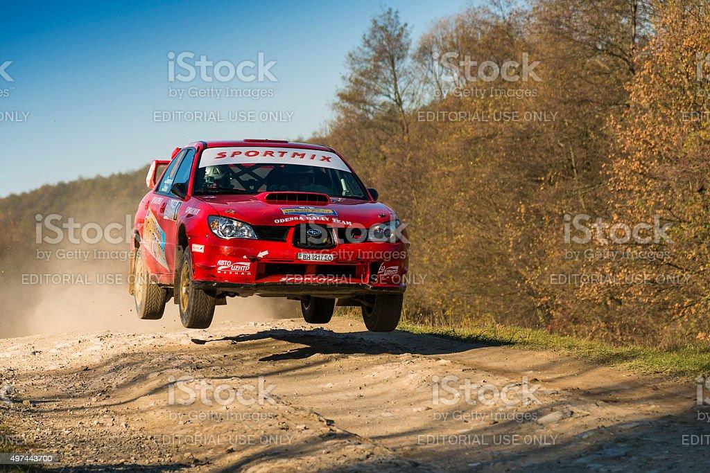 Subaru Impreza WRX STI  competes at the annual Rally Galicia stock photo