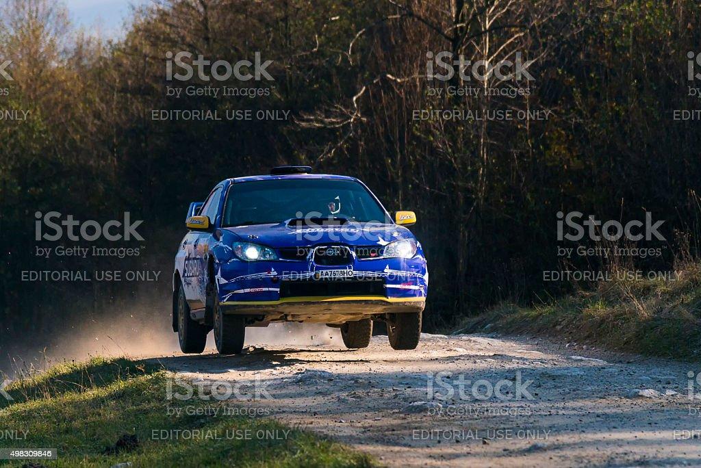 Unknown racers on the car brand Subaru Impreza WRX STI overcome the...