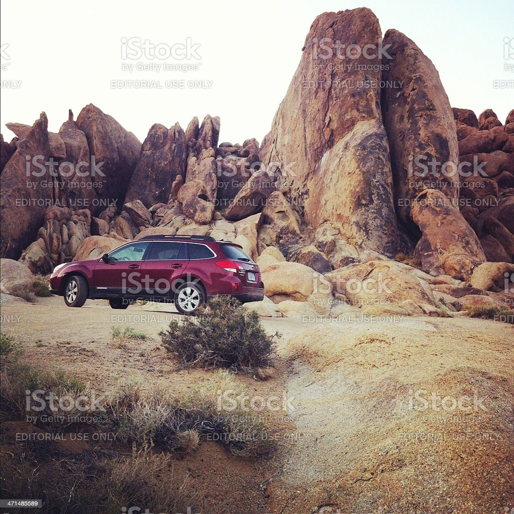 Subaru in the Alabama Hills royalty-free stock photo