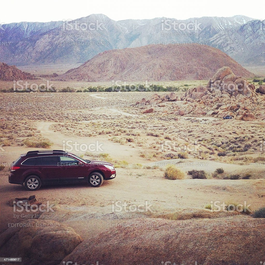 Subaru in the Alabama Hills royalty-free stock photo