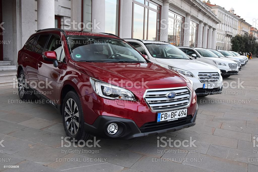 Subaru Outback cars in a row stock photo