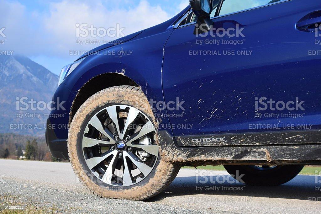 Subaru Outback on the road stock photo