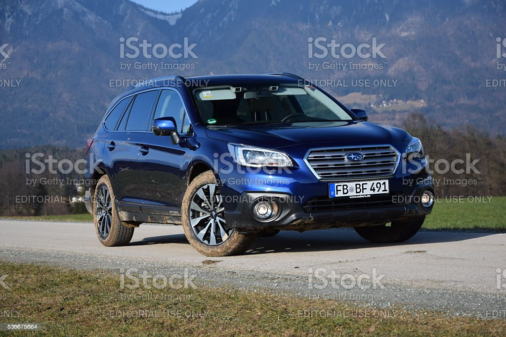 Subaru Outback on the road stock photo
