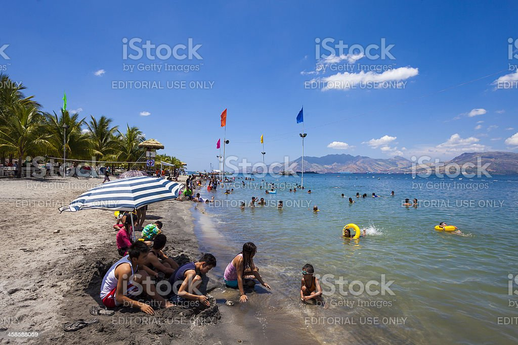 Subic, Philippines: Crowded beach over Easter stock photo