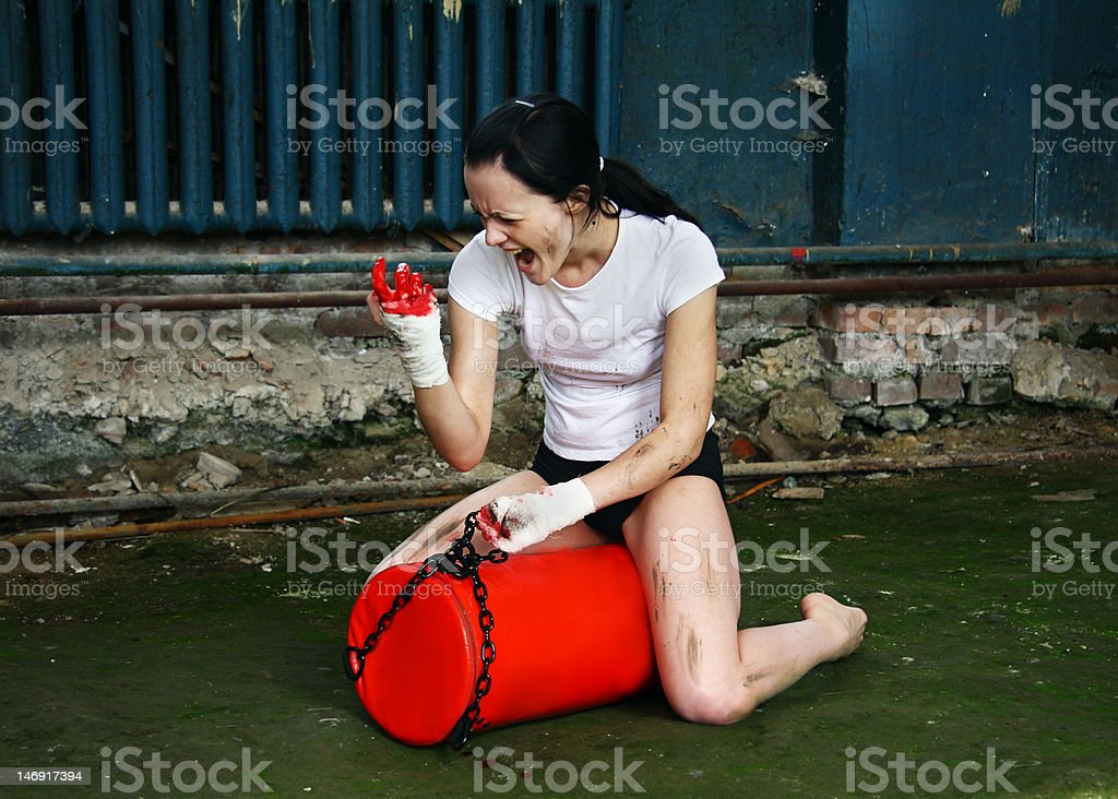 Subject portrait of the girl who are engaged in boxing royalty-free stock photo