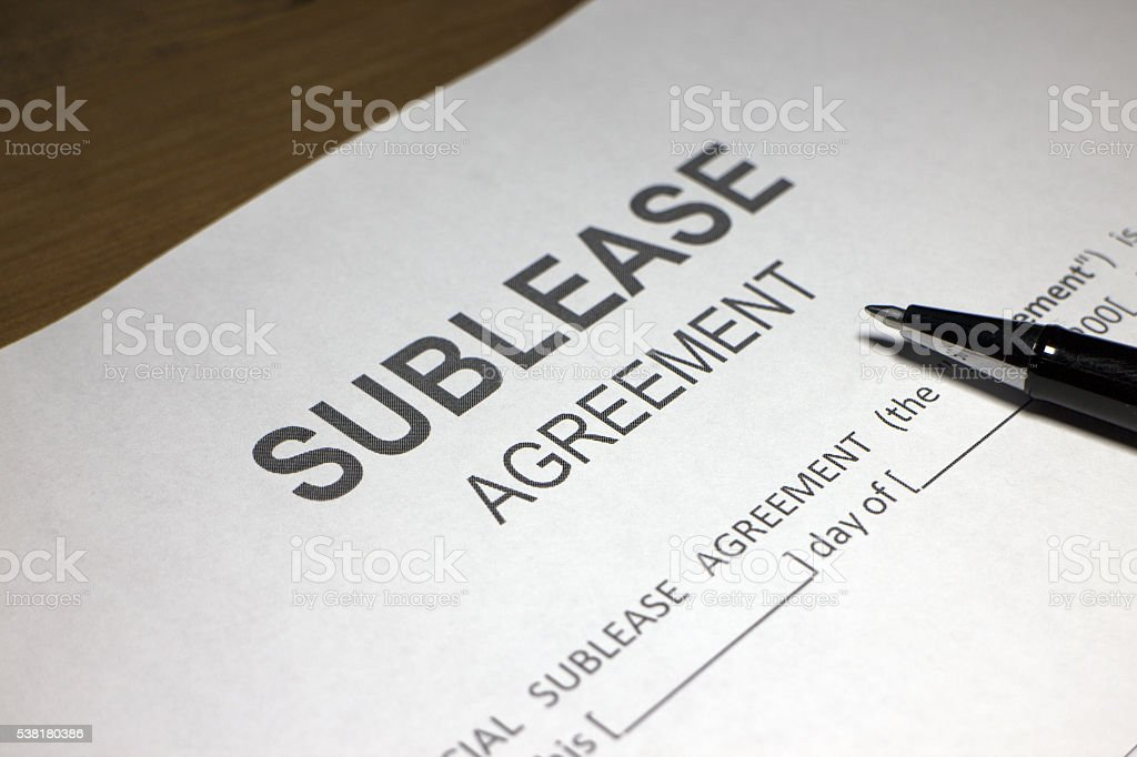 Sublease Agreement Document stock photo