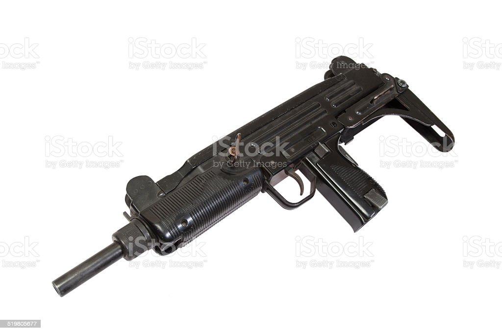 submachine gun isolated on white stock photo