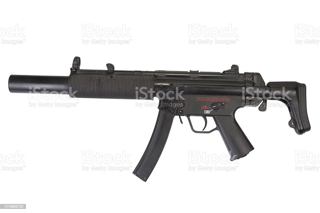 submachine gun MP5 with silencer stock photo