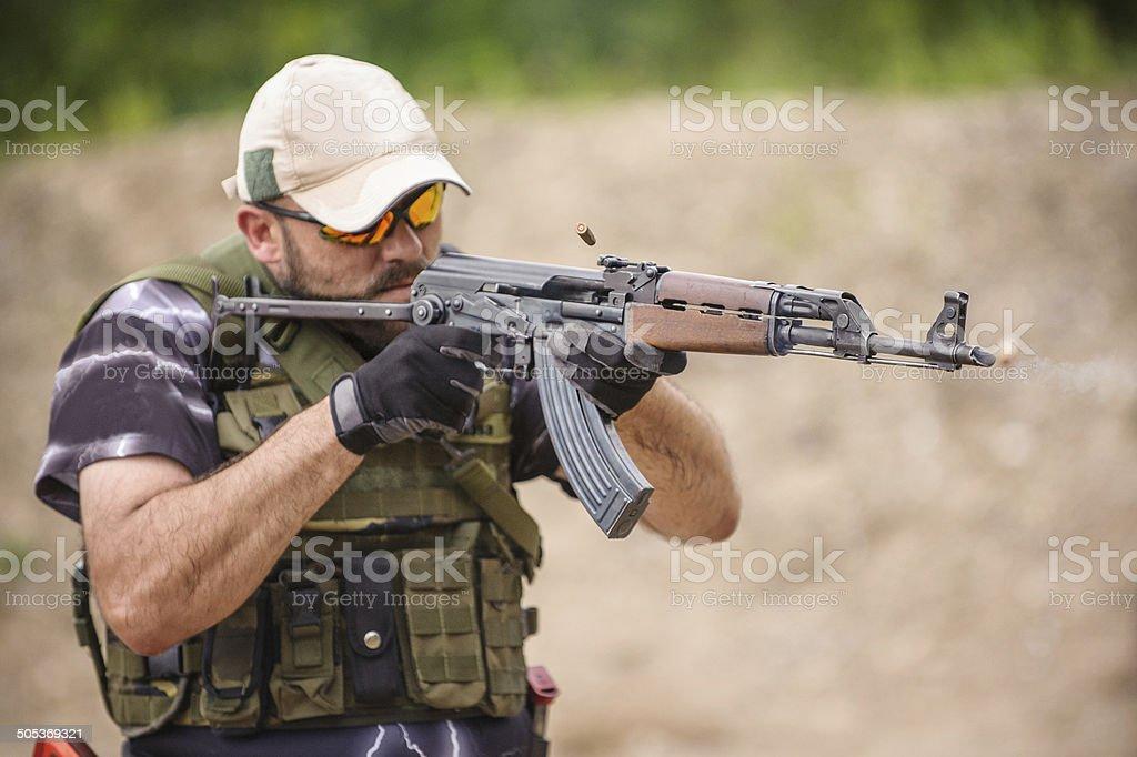 Submachine Gun. Outdoor Shooting Range stock photo