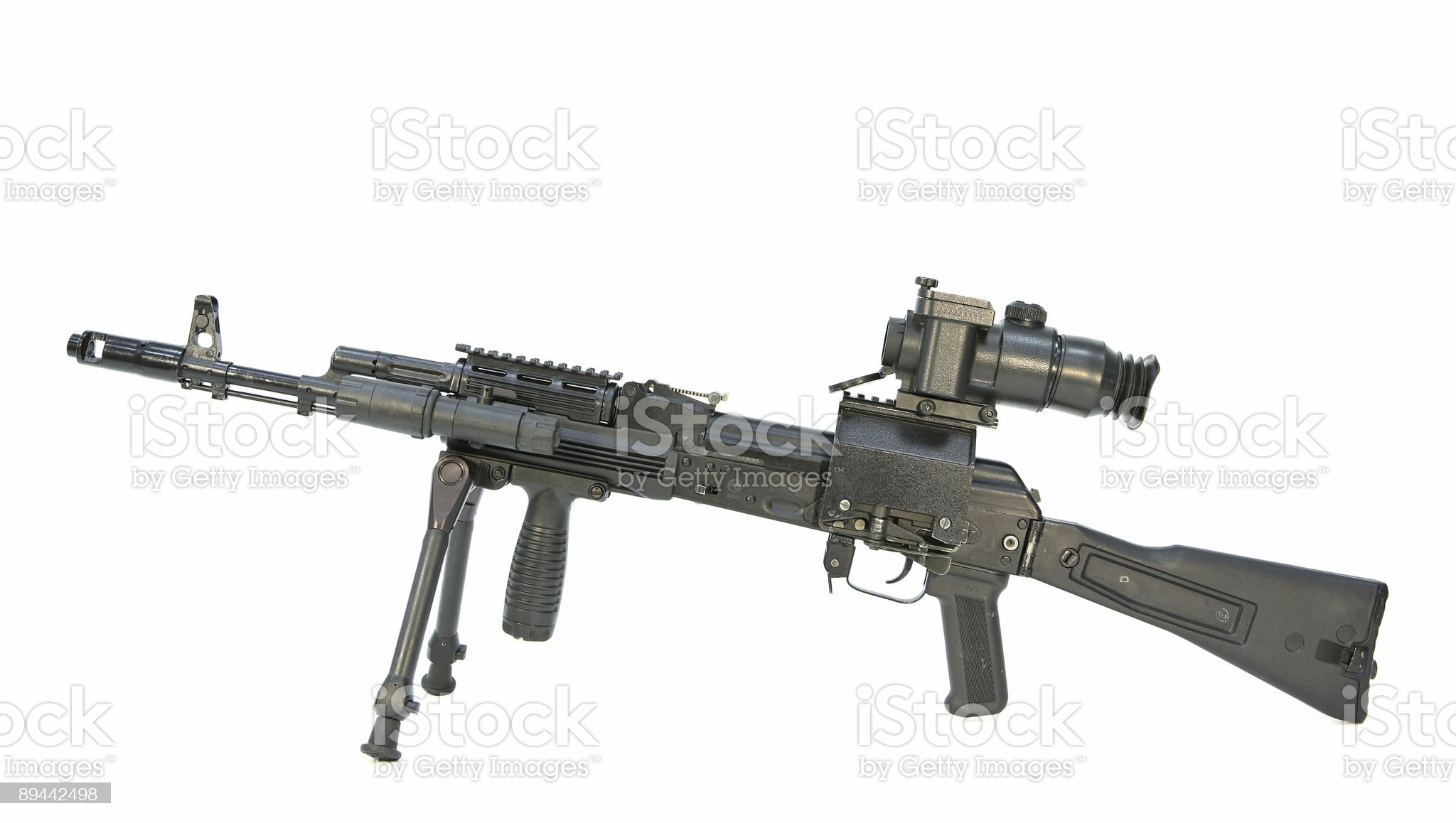 submachine gun with optical sight royalty-free stock photo