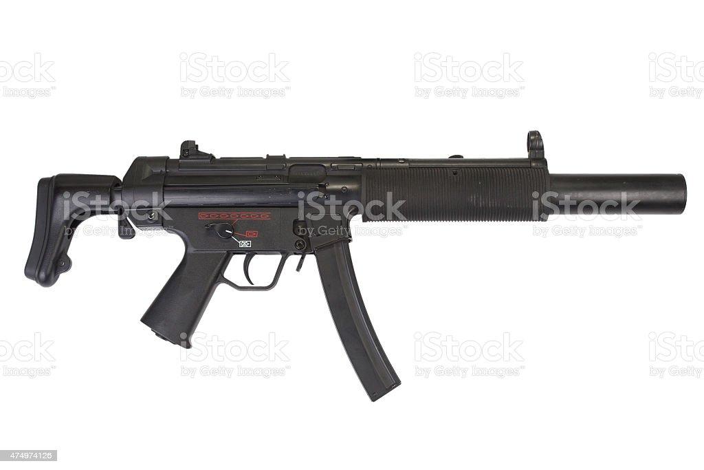 submachine gun with silencer stock photo
