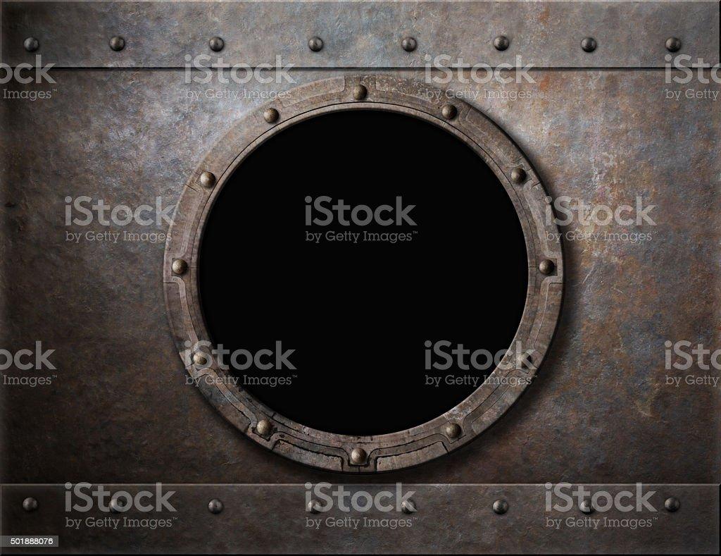 submarine armoured porthole or window metal background stock photo