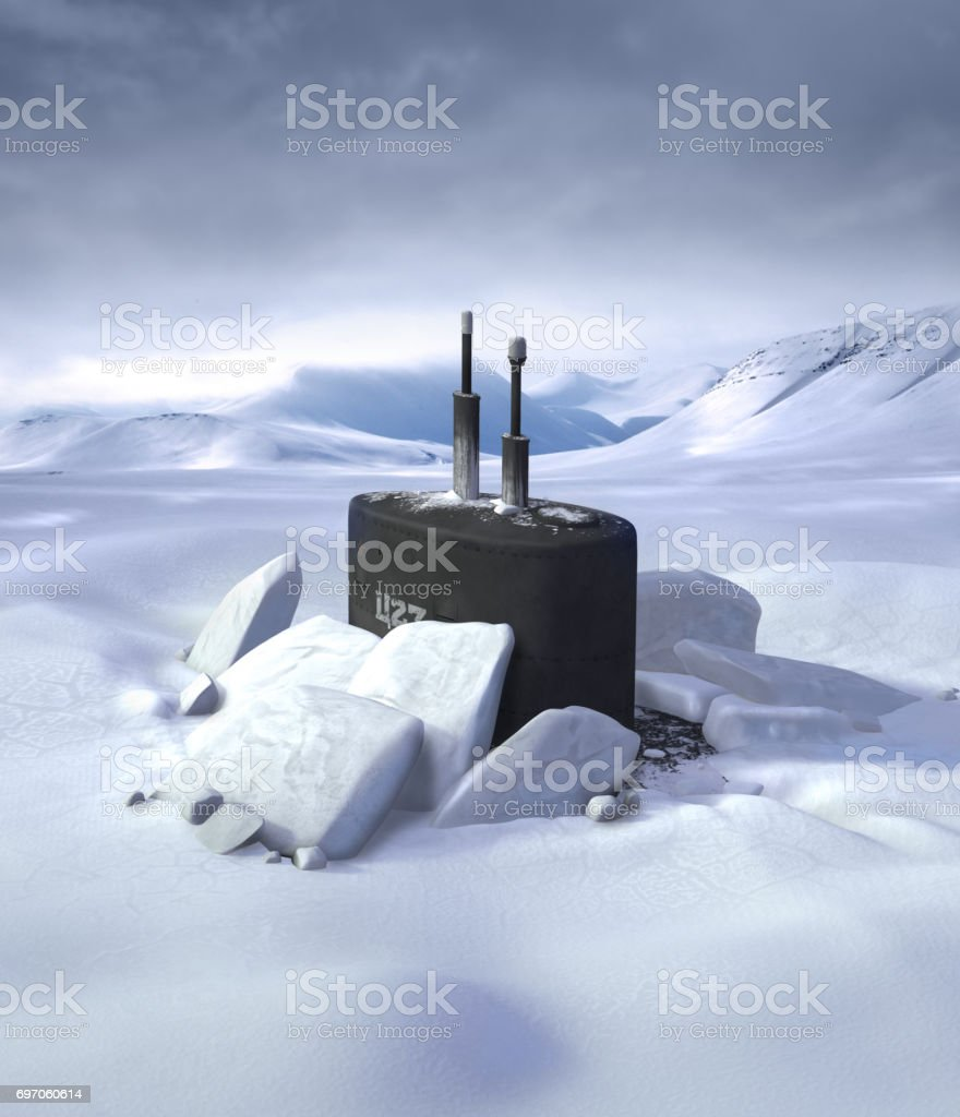 Submarine Breaking through North Pole Ice stock photo