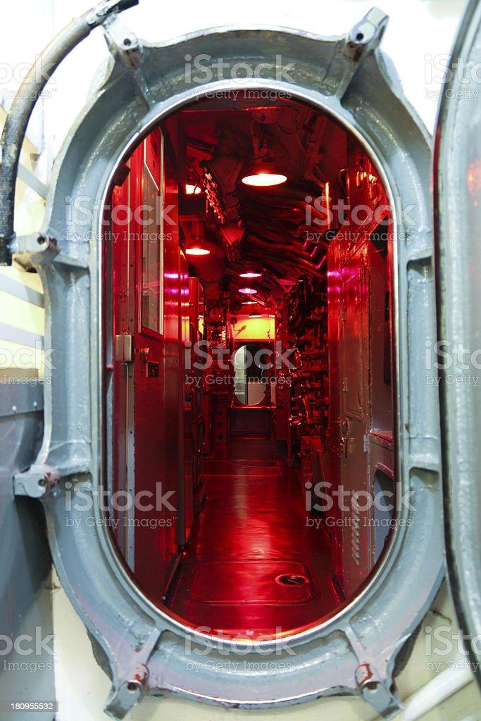 Submarine hatch leading to command center stock photo