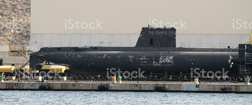 Submarine in dock stock photo